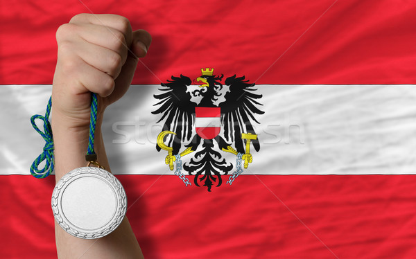 Silver medal for sport and  national flag of austria    Stock photo © vepar5