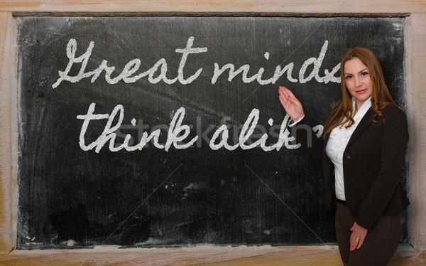 Leraar tonen groot denk gelijk Blackboard Stockfoto © vepar5