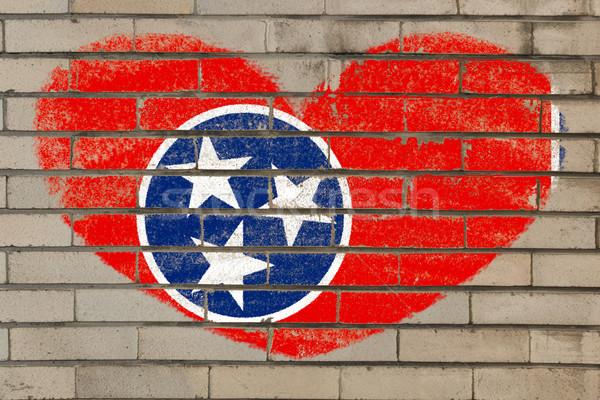 Forme de coeur pavillon Tennessee mur de briques coeur Photo stock © vepar5
