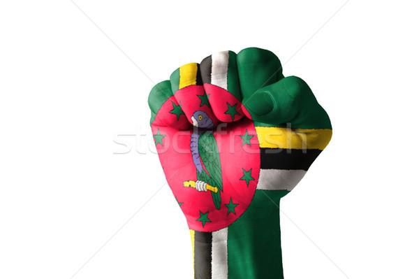 Punho pintado cores Dominica bandeira baixo Foto stock © vepar5