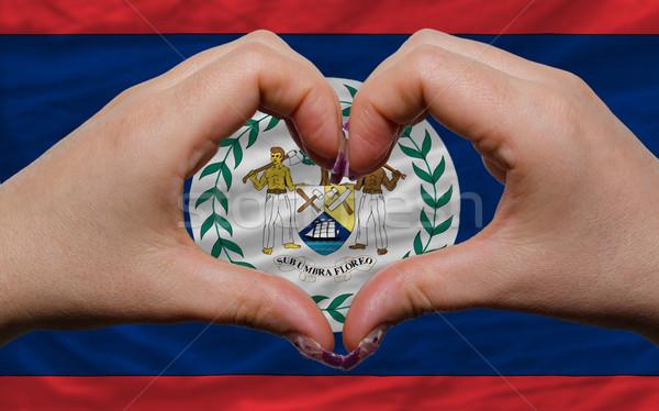 Stock fotó: Zászló · Belize · szív · szeretet · kézmozdulat · kezek