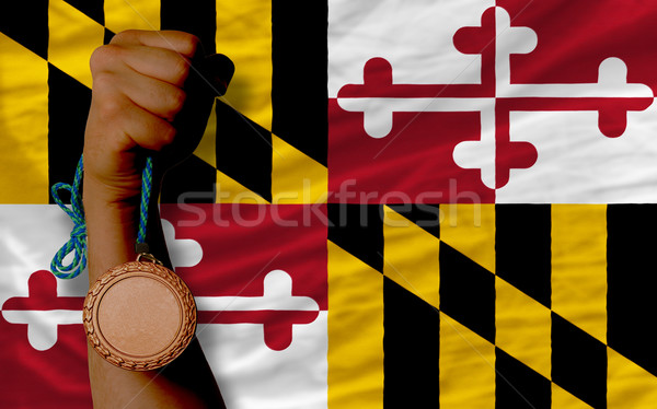 Bronze medal for sport and  flag of american state of maryland   Stock photo © vepar5