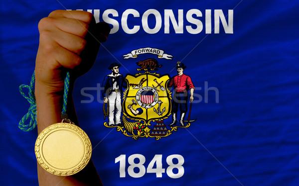 Medalla de oro deporte bandera americano Wisconsin ganador Foto stock © vepar5