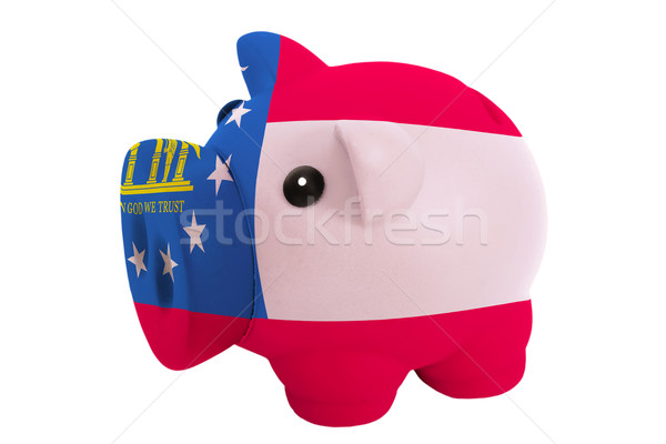 piggy rich bank in colors  flag of american state of georgia     Stock photo © vepar5