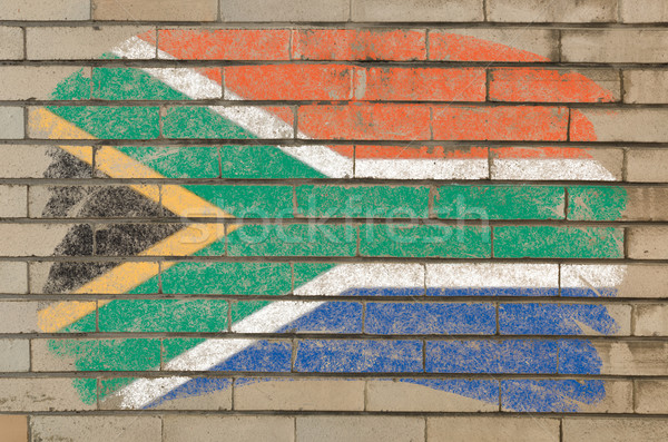 flag of South Africa on grunge brick wall painted with chalk   Stock photo © vepar5