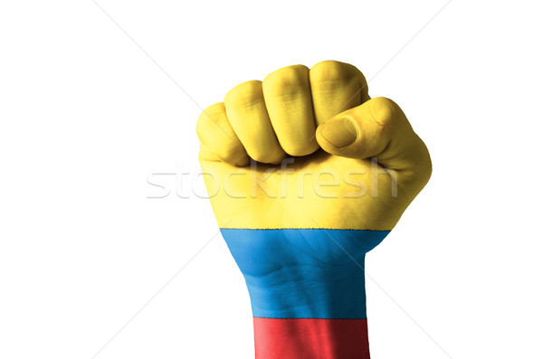 Fist painted in colors of columbia flag Stock photo © vepar5