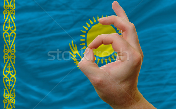 ok gesture in front of kazakhstan national flag Stock photo © vepar5