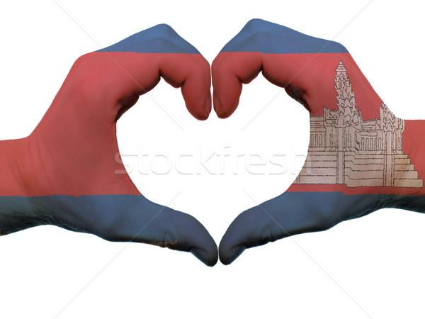 Coração amor gesto Camboja bandeira cores Foto stock © vepar5