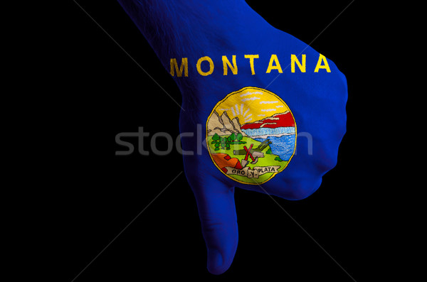 Montana zászló hüvelykujjak lefelé kézmozdulat kudarc Stock fotó © vepar5