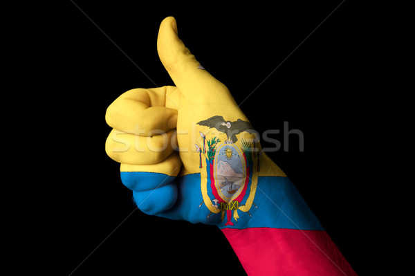 ecuador national flag thumb up gesture for excellence and achiev Stock photo © vepar5