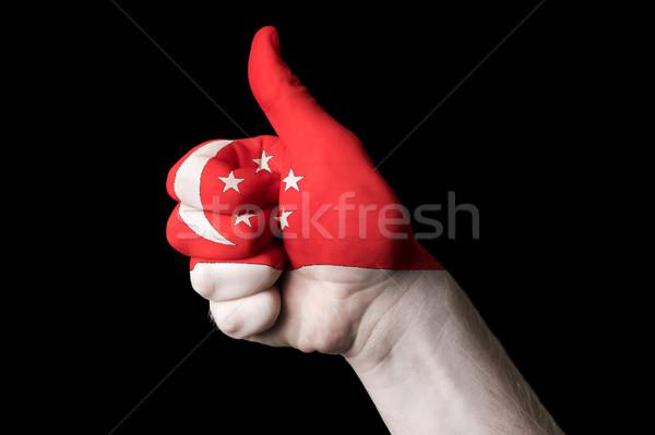 Singapur bandera pulgar hasta gesto excelencia Foto stock © vepar5