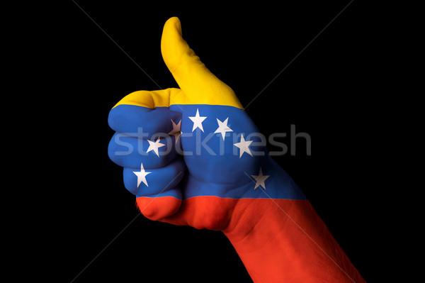 Foto stock: Venezuela · bandeira · polegar · para · cima · gesto · excelência