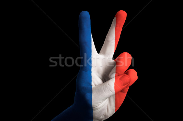 france national flag two finger up gesture for victory and winne Stock photo © vepar5