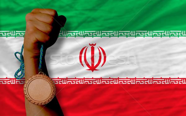 Bronz érem sport zászló Irán tart Stock fotó © vepar5
