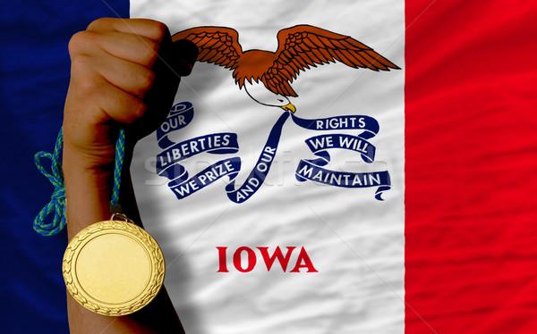 Altın madalya spor bayrak amerikan Iowa kazanan Stok fotoğraf © vepar5