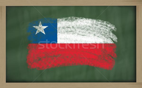 Zászló Chile iskolatábla festett kréta szín Stock fotó © vepar5