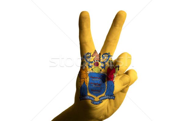 New Jersey vlag twee vinger omhoog gebaar Stockfoto © vepar5