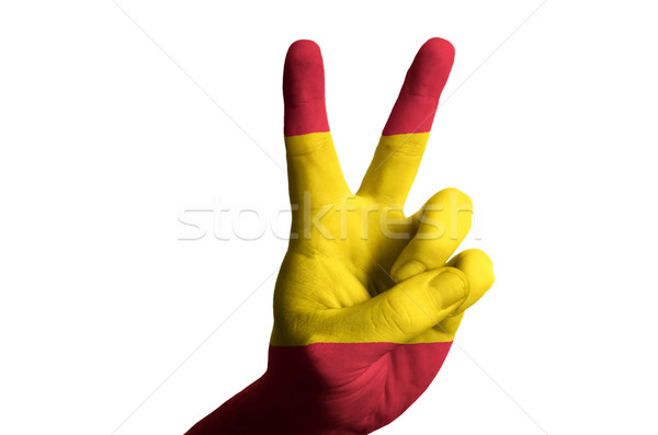 spain national flag two finger up gesture for victory and winner Stock photo © vepar5