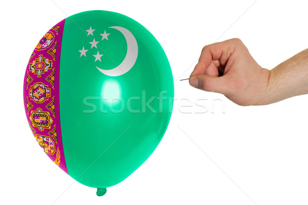Bursting balloon colored in  national flag of turkmenistan    Stock photo © vepar5