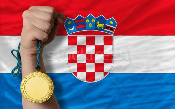 Aranyérem sport zászló Horvátország nyertes tart Stock fotó © vepar5