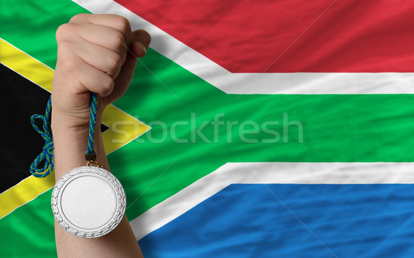 Silver medal for sport and  national flag of south africa    Stock photo © vepar5