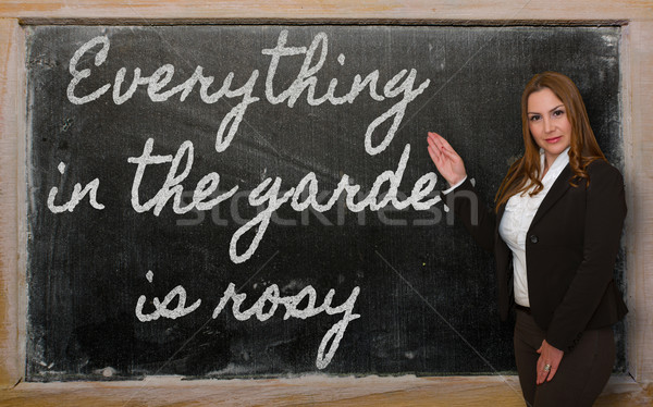 Teacher showing Everything in the garden is rosy on blackboard Stock photo © vepar5