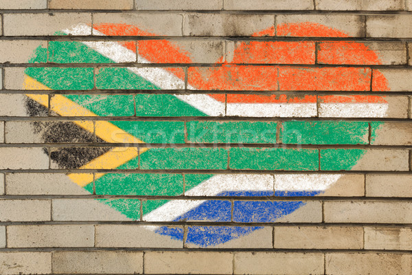 heart shape flag of South Africa on brick wall Stock photo © vepar5