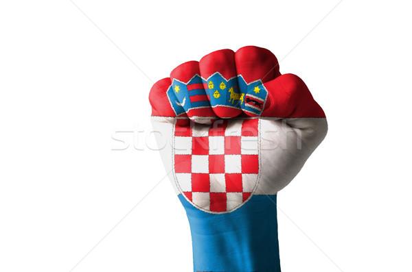 Punho pintado cores Croácia bandeira baixo Foto stock © vepar5