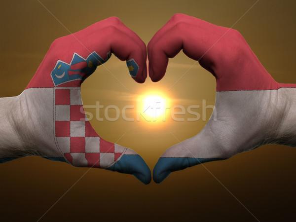 Cuore amore gesto mani colorato Croazia Foto d'archivio © vepar5