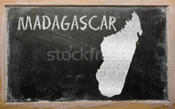 outline map of madagascar on blackboard  Stock photo © vepar5
