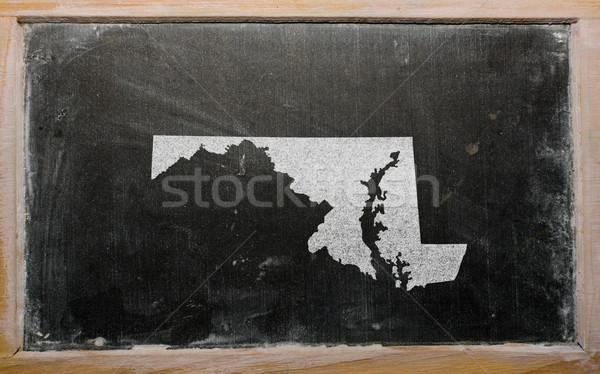 Skicc térkép Maryland iskolatábla rajz amerikai Stock fotó © vepar5