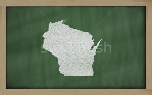 Stock fotó: Skicc · térkép · Wisconsin · iskolatábla · rajz · tábla