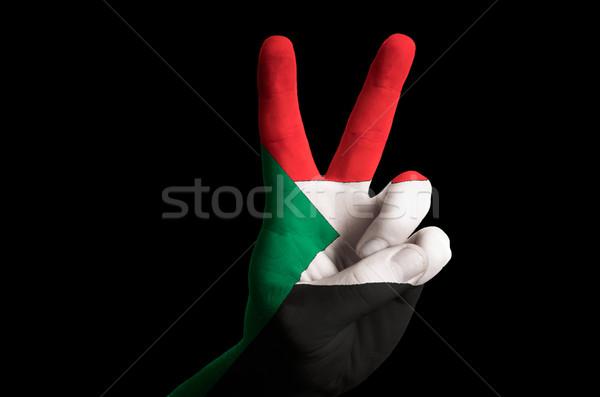 Soedan vlag twee vinger omhoog gebaar Stockfoto © vepar5