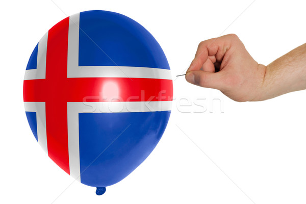 Bursting balloon colored in  national flag of iceland    Stock photo © vepar5