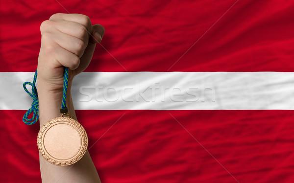 Bronzen medaille sport vlag Letland Stockfoto © vepar5