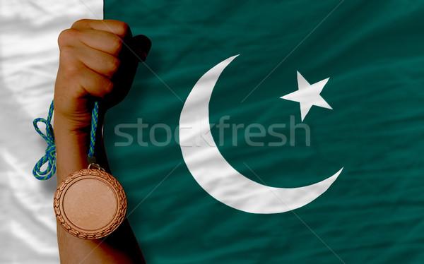 Bronz madalya spor bayrak Pakistan Stok fotoğraf © vepar5