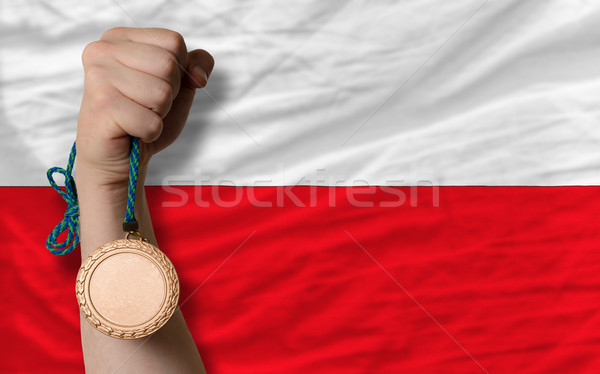 Bronze medal for sport and  national flag of poland    Stock photo © vepar5