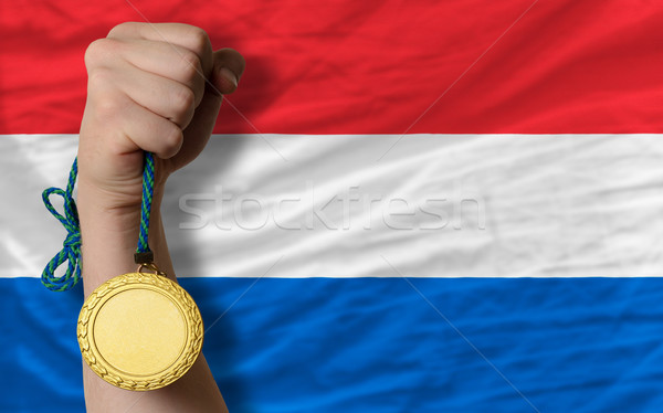 Médaille d'or sport pavillon holland gagnant Photo stock © vepar5