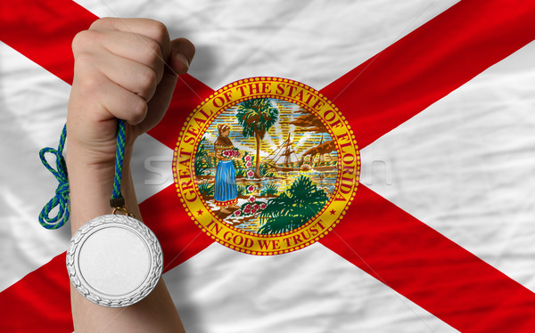 Silver medal for sport and  flag of american state of florida    Stock photo © vepar5