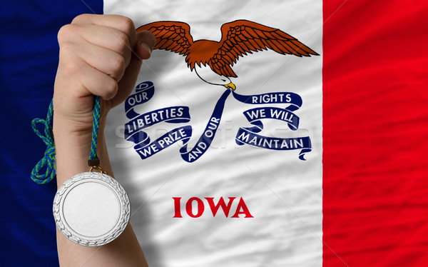 Silver medal for sport and  flag of american state of iowa    Stock photo © vepar5