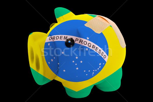 bankrupt piggy rich bank in colors of national flag of brazil    Stock photo © vepar5