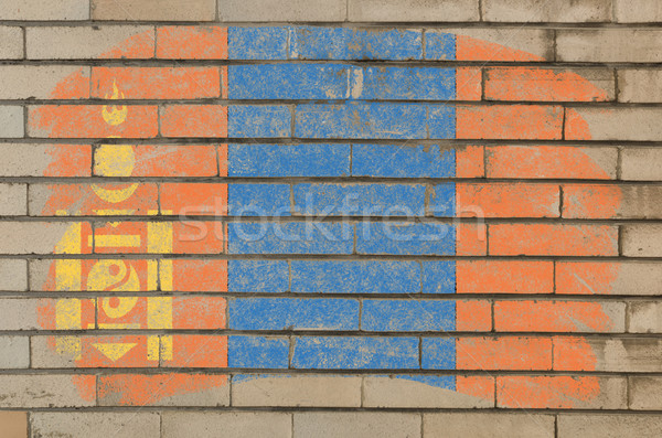 flag of mongolia on grunge brick wall painted with chalk   Stock photo © vepar5