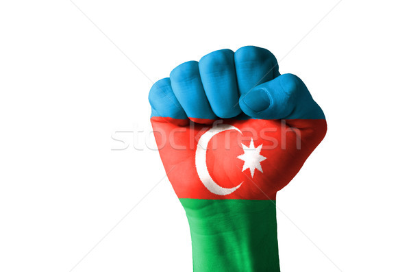 Fist painted in colors of azerbaijan flag Stock photo © vepar5