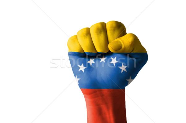 Fist painted in colors of venezuela flag Stock photo © vepar5