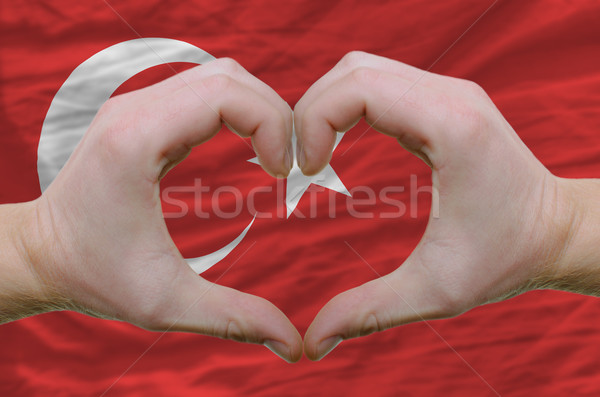 Heart and love gesture showed by hands over flag of turkey backg Stock photo © vepar5