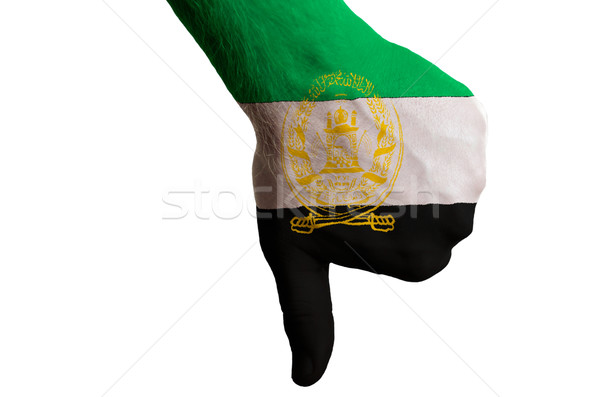 afghanistan national flag thumb down gesture for failure made wi Stock photo © vepar5