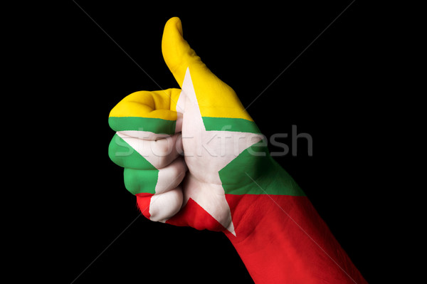 Stock photo: myanmar national flag thumb up gesture for excellence and achiev