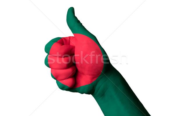 Banglades zászló hüvelykujj felfelé kézmozdulat kiválóság Stock fotó © vepar5