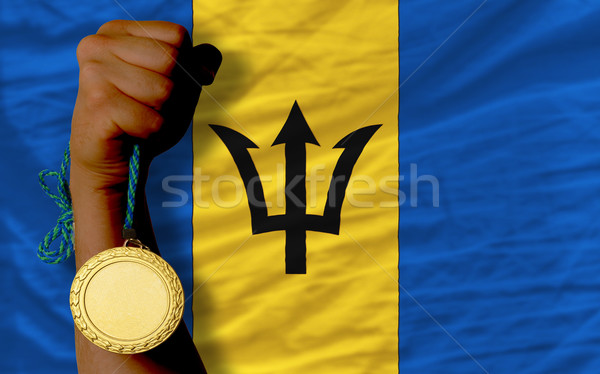 Gold medal for sport and  national flag of barbados    Stock photo © vepar5