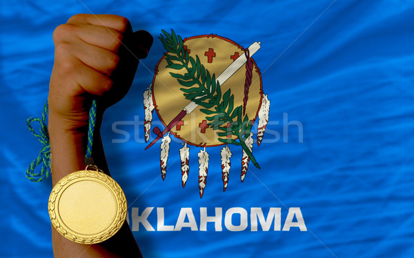 Gold medal for sport and  flag of american state of oklahoma    Stock photo © vepar5